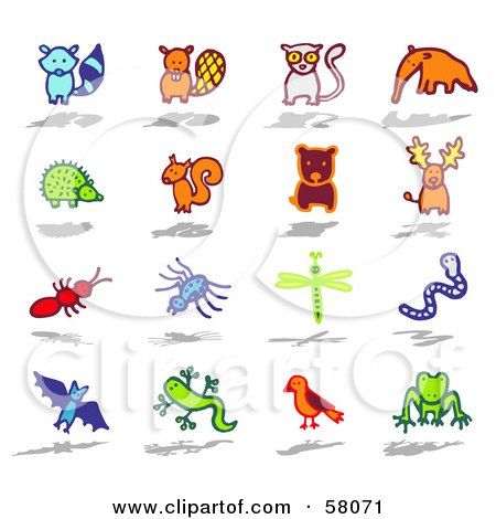 Royalty-Free (RF) Clipart Illustration of a Digital Collage Of A Raccoon, Beaver, Lemur, Anteater, Hedgehog, Squirrel, Bear, Caribou, Ant, Spider, Dragonfly, Worm, Bat, Salamander, Bird And Frog by NL shop