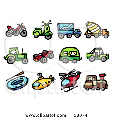 Royalty-Free (RF) Clipart Illustration of a Digital Collage Of An Atv, Scooter, Big Rig, Concrete Mixer, Tractor, Race Car, Camper, Jeep, Raft, Submarine, Helicopter And Train by NL shop