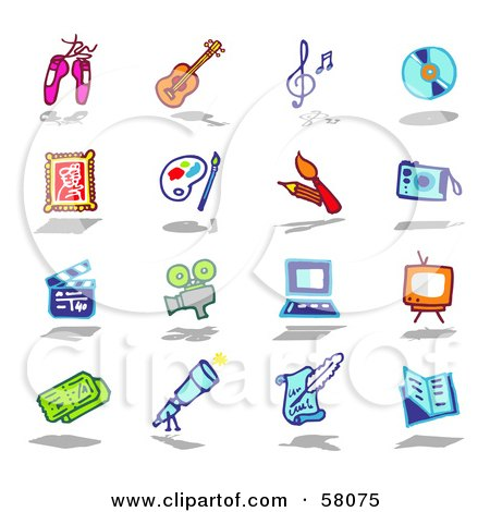 Royalty-Free (RF) Clipart Illustration of a Digital Collage Of Ballet Slippers, Guitar, Music Notes, Disc, Frame, Paintbrush, Camera, Clapperboard, Film Camera, Computer, Tv, Tickets, Letter And Book by NL shop