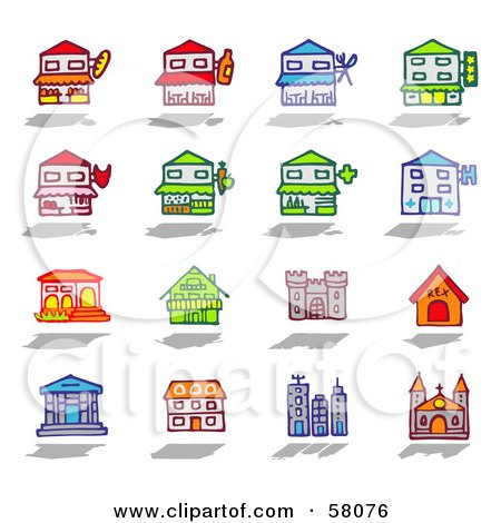 Royalty-Free (RF) Clipart Illustration of a Digital Collage Of Building Facades by NL shop