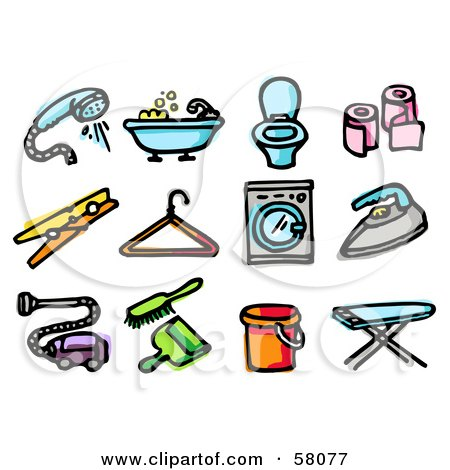 Royalty-Free (RF) Clipart Illustration of a Digital Collage Of A Shower Head, Bath Tub, Toilet, Toilet Paper, Clothespin, Hanger, Washing Machine, Iron, Vacuum, Dustpan, Bucket And Ironing Board by NL shop