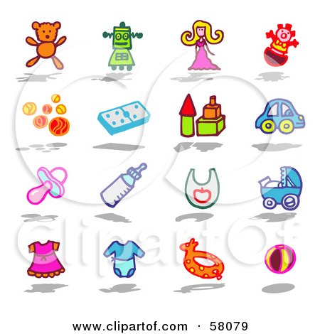 Royalty-Free (RF) Clipart Illustration of a Digital Collage Of Children And Baby Toy Items by NL shop