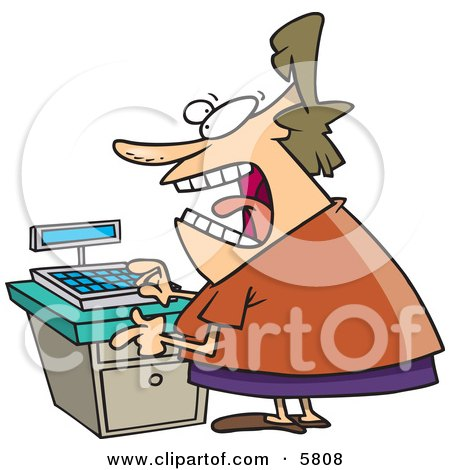Stressed Out Clerk Woman at a Cash Register in a Store Clipart Illustration by toonaday