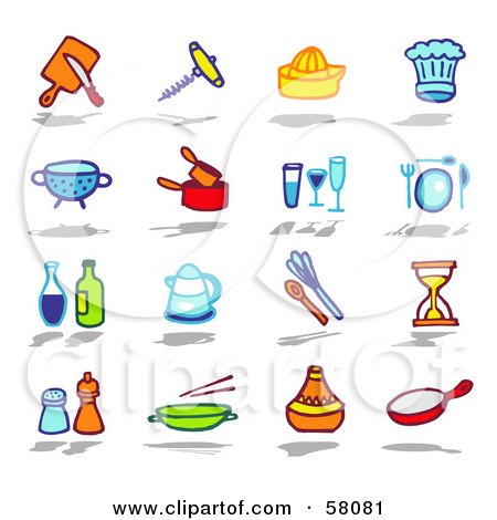 Royalty-Free (RF) Clipart Illustration of a Digital Collage Of Kitchen Tools And Condiments by NL shop