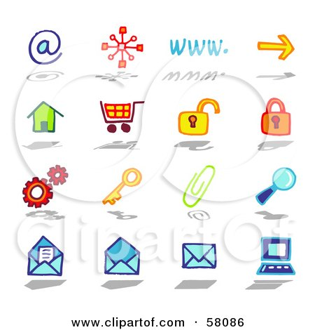 Royalty-Free (RF) Clipart Illustration of a Digital Collage Of Internet At, Www, Arrow, Home, Shopping Cart, Padlock, Gears, Key, Paperclip, Search, Email by NL shop