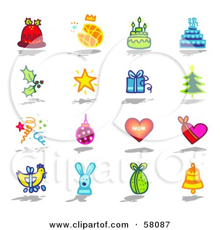 Royalty-Free (RF) Clipart Illustration of a Digital Collage Of Christmas Pudding, Bread, Cake, Holly, Star, Gift, Tree, Confetti, Bauble, Hearts, Easter Eggs, Rabbit And A Bell by NL shop