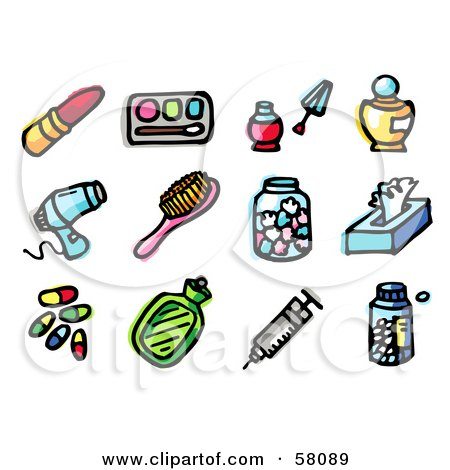 Royalty-Free (RF) Clipart Illustration of a Digital Collage Of Lipstick, Eye Shadow, Nail Polish, Perfume, Blow Dryer, Brush, Tissue, Pills, Bottle, Syringe And Pills by NL shop