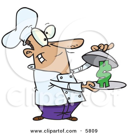 Male Chef Serving a Dollar Sign on a Platter Clipart Illustration by toonaday