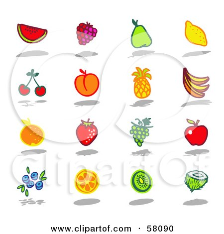 Royalty-Free (RF) Clipart Illustration of a Digital Collage Of Watermelon, Raspberry, Pear, Lemon, Cherry, Apricot, Pineapple, Banana, Orange, Strawberry, Grape, Apple, Blueberry, Kiwi And Coconut Fruits by NL shop