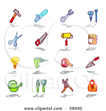 Royalty-Free (RF) Clipart Illustration of a Digital Collage Of Colorful Tools And Items by NL shop