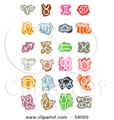 Royalty-Free (RF) Clipart Illustration of a Digital Collage Of Colorful Zodiac Signs And Symbols by NL shop