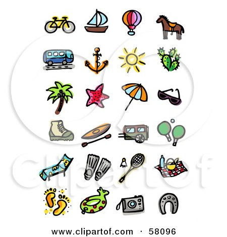 Royalty-Free (RF) Clipart Illustration of a Digital Collage Of A Bike, Sailboat, Air Balloon, Horse, Bus, Anchor, Sun, Cactus, Tree, Starfish, Umbrella, Sunglasses, Boot, Canoe, Camper, Ping Pong, Lounger, Swim Fins, Badminton, Picnic, Footprints, Floatie by NL shop