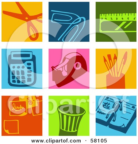 Royalty-Free (RF) Clipart Illustration of a Digital Collage Of Colorful Scissor, Paperclip, Ruler, Calculator, Tape, Pen, Memo And Calendar Icons by NL shop