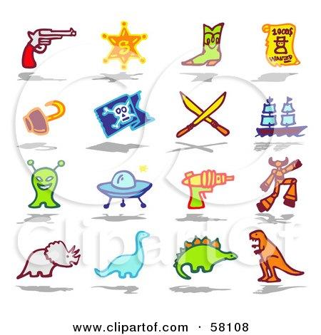 Digital Collage Of A Gun, Sheriff Badge, Boot, Wanted Sign, Hook, Pirate Flag, Swords, Ship, Alien, Ufo, Laser Gun, Robot, Triceratops, Brontosaurus, Stegosaur And T Rex Posters, Art Prints