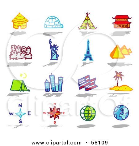 Royalty-Free (RF) Clipart Illustration of a Digital Collage Of Architecture, Travel And Tourist Attractions by NL shop