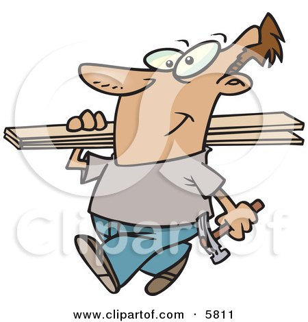 Man Carrying a Hammer and Fence Boards Clipart Illustration by toonaday