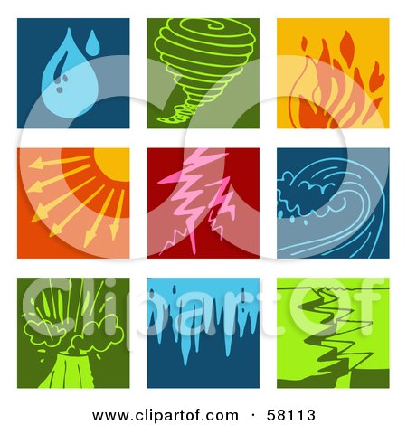 Royalty-Free (RF) Clipart Illustration of a Digital Collage Of Colorful Rain, Tornado, Fire, Heat, Lightning, Tsunami, Volcano, Flood And Earthquake Icons by NL shop