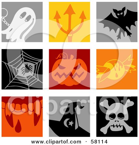 Royalty-Free (RF) Clipart Illustration of a Digital Collage Of Colorful Ghost, Devils Pitchfork, Vampire Bat, Spider, Pumpkin, Candy, Fangs, Witch Hat And Skull Icons by NL shop