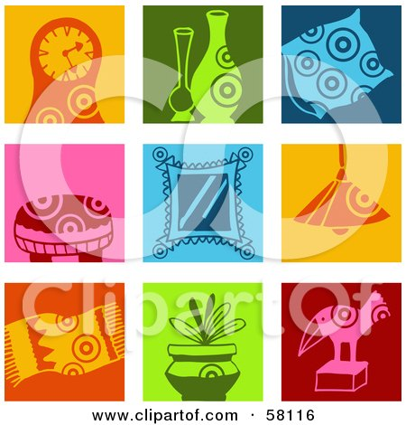 Royalty-Free (RF) Clipart Illustration of a Digital Collage Of Colorful Clock, Vase, Pillow, Stool, Mirror, Lamp, Rug, Plant And Statue Icons by NL shop
