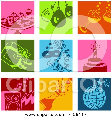 Royalty-Free (RF) Clipart Illustration of a Digital Collage Of Colorful Appetizer, Balloon, Champagne, Present, Confetti, Cake, Music, And Disco Icons by NL shop