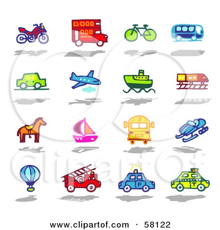 Royalty-Free (RF) Clipart Illustration of a Digital Collage Of An Atv, Double Decker Bus, Bike, Bus, Car, Airplane, Boat, Train, Horse, Sailboat, School Bus, Snow Mobile, Air Balloon, Fire Truck, Police Car And Taxi by NL shop