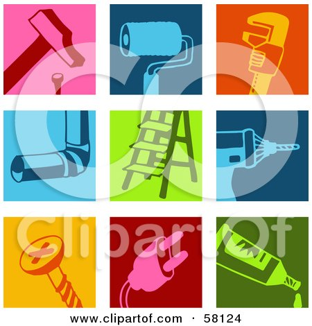 Royalty-Free (RF) Clipart Illustration of a Digital Collage Of A Hammer, Paint Brush, Wrench, Pipe, Ladder, Drill, Screw, Plug And Tube Icons by NL shop