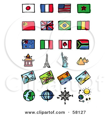 Royalty-Free (RF) Clipart Illustration of a Digital Collage Of Flags And Tourist Attractions by NL shop