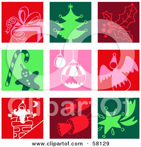 Royalty-Free (RF) Clipart Illustration of a Digital Collage Of Colorful Gift, Christmas Tree, Holly, Candy Cane, Bauble, Angel, Santa, Cracker And Star Icons by NL shop