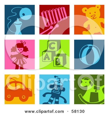 Royalty-Free (RF) Clipart Illustration of a Digital Collage Of Colorful Toy Icon Squares by NL shop