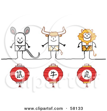 Royalty-Free (RF) Clipart Illustration of Chinese Zodiac Years Of The Rat, Ox And Tiger Stick People Characters by NL shop