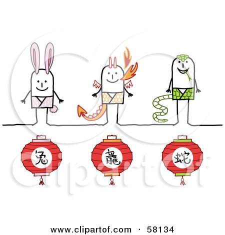 Royalty-Free (RF) Clipart Illustration of Chinese Zodiac Years Of The Rabbit, Dragon And Snake Stick People Characters by NL shop