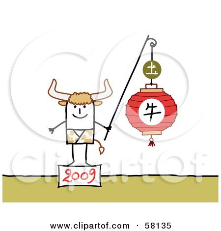 Royalty-Free (RF) Clipart Illustration of a 2009 Year Of The Ox Chinese Zodiac Stick People Character by NL shop
