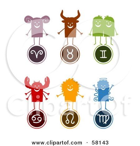Royalty-Free (RF) Clipart Illustration of a Digital Collage Of Aries, Taurus, Gemini, Cancer, Leo And Virgo Characters And Symbols by NL shop