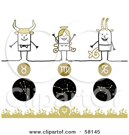 Royalty-Free (RF) Clipart Illustration of Stick People Taurus, Virgo And Capricorn Zodiac Signs by NL shop
