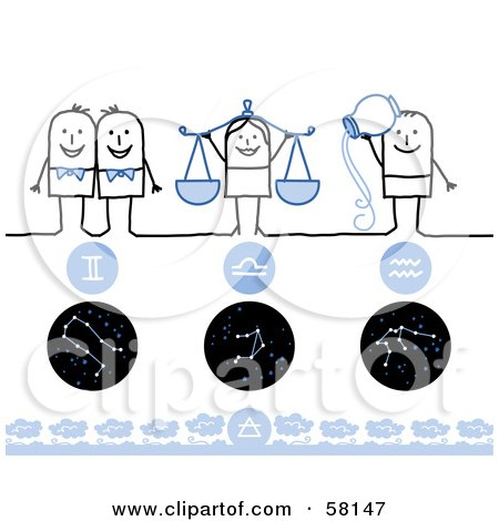 Royalty-Free (RF) Clipart Illustration of Stick People Gemini, Libra And Aquarius Zodiac Signs by NL shop