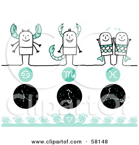 Royalty-Free (RF) Clipart Illustration of Stick People Cancer, Scorpio And Pisces Zodiac Signs  by NL shop