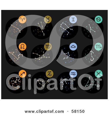 Royalty-Free (RF) Clipart Illustration of a Digital Collage Of Star Constellations And Zodiac Symbols by NL shop