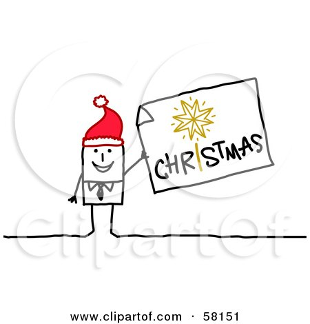 Royalty-Free (RF) Clipart Illustration of a Stick People Character Man Wearing A Santa Hat And Holding A Christmas Sign by NL shop