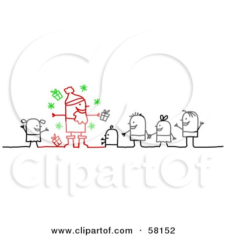 Royalty-Free (RF) Clipart Illustration of a Stick People Character Family In Line To See Santa Claus by NL shop