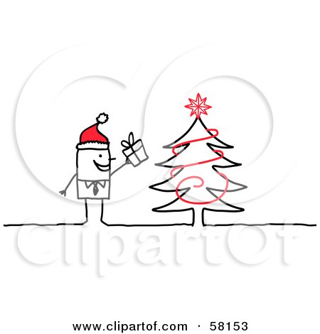 Royalty-Free (RF) Clipart Illustration of a Stick People Character Man Wearing A Santa Hat And Standing By A Christmas Tree by NL shop