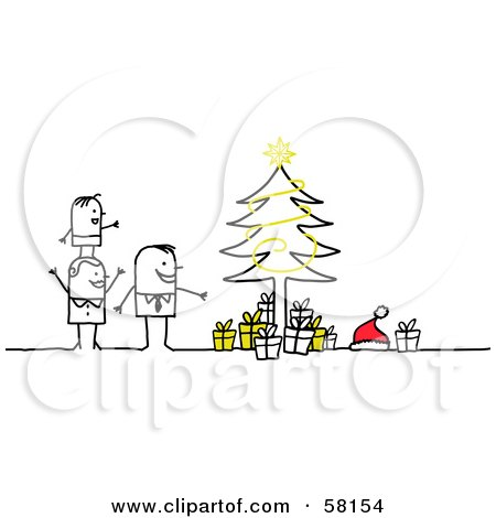 Royalty-Free (RF) Clipart Illustration of a Stick People Character Family Standing By A Christmas Tree by NL shop