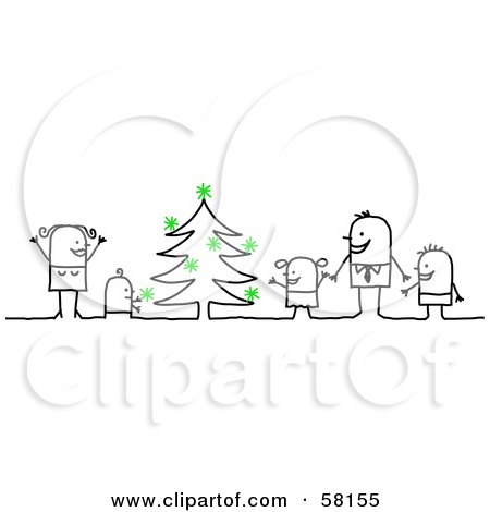 Royalty-Free (RF) Clipart Illustration of a Stick People Character Family Decorating A Christmas Tree by NL shop
