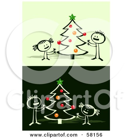 Royalty-Free (RF) Clipart Illustration of Stick People Character Children Decorating A Christmas Tree by NL shop