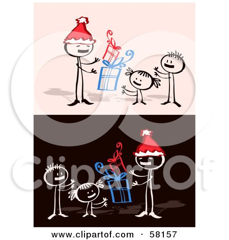 Royalty-Free (RF) Clipart Illustration of a Stick People Character Dad And Children With Christmas Gifts by NL shop