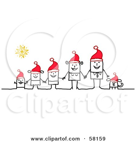 Royalty-Free (RF) Clipart Illustration of a Stick People Character Family And Dog Holding Hands And Wearing Santa Hats by NL shop