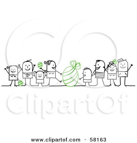 Royalty-Free (RF) Clipart Illustration of Stick People Character Families With Green Easter Eggs by NL shop