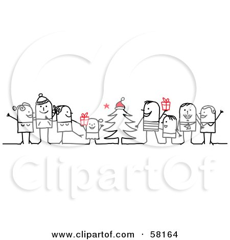Stick People Character Families Standing Around A Christmas Tree With Gifts Posters, Art Prints