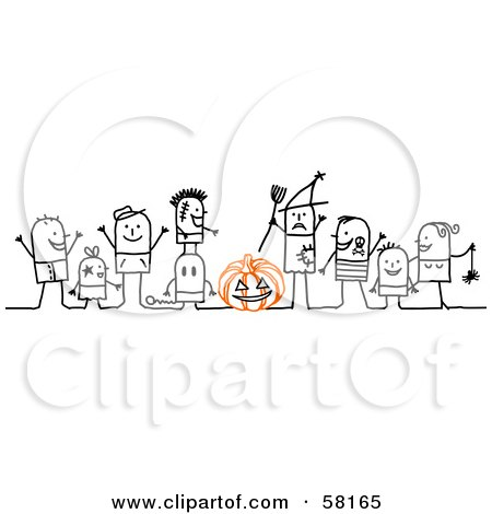 Royalty-Free (RF) Clipart Illustration of Stick People Character Children Trick Or Treating In Costumes by NL shop