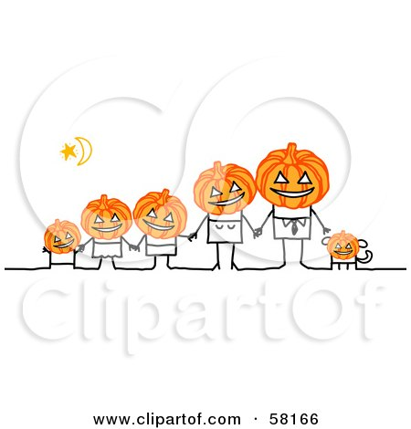 Stick People Character Halloween Family With Pumpkin Heads Posters, Art Prints
