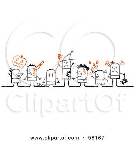 Royalty-Free (RF) Clipart Illustration of Stick People Character Halloween Kids In Costumes by NL shop